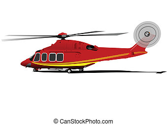 Air force. Red-yellow helicopter. Vector illustration