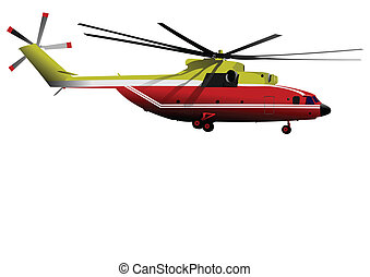 Air force. Red-yellow helicopter.