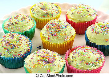 Iced Cup Cakes - A plate of delicious iced cup cakes ready...