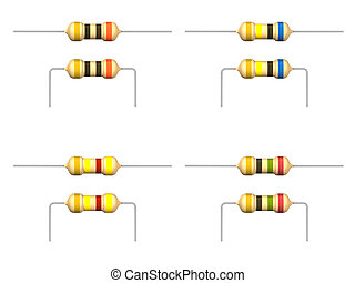 Resistor - The three-dimensional image of a resistor on a...