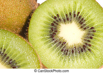 Green Kiwi fruit and slice