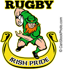 Irish leprechaun rugby player - illustration of a cartoon...