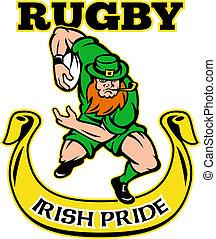 Irish leprechaun rugby player - illustration of a cartoon...