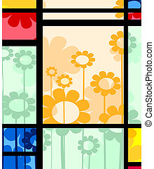 abstract floral design - Abstract layout with floral...