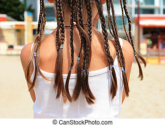 African braids on the head girl in summer