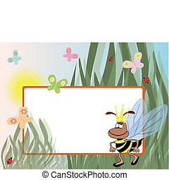 Summer frame with bee - Summer frame with queen bee