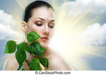 beauty portrait - a beauty girl on the sky background