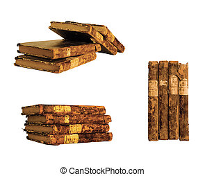 few old books in various forms on a white background