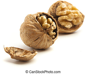 unshelled nut isolated on a white background