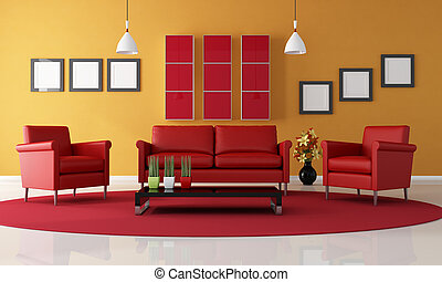 red and orange living room - two red armchair and sofa in a...