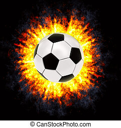 Soccer ball in powerful explosion on black background. High...