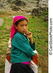 White Hmong ethnic girl - Only at the roadside this Hmong...