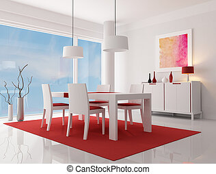 contemporary dining room - white and red modern living room...