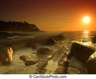 Sunset on Sri Lanka - Beautiful colorful sunset with beams...