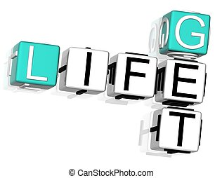 Get Life Crossword - 3D Get Life Crossword text on white...