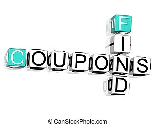 Coupons Find Crossword - 3D Coupons Find Crossword text on...