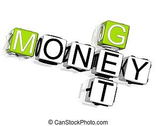 Get Money Crossword - 3D Get Money Crossword text on white...