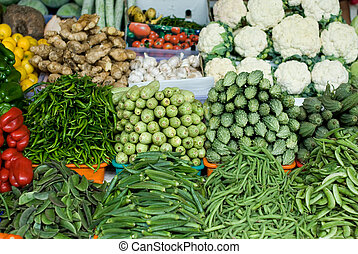 Fresh Vegetables - Freshly picked vegetables at an open-air...