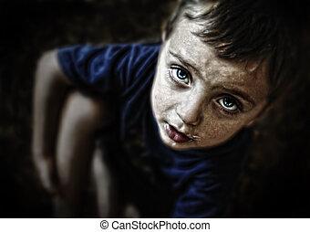 悲しい, 見る, 黒, 背景, 子供, 肖像画