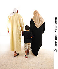 Muslim arabic family walking