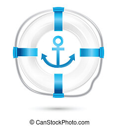 lifebuoy - illustration of lifebuoy on white background