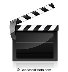 clapboard - illustration of clapboard on white background