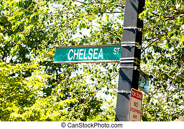 Street sign on the bright day