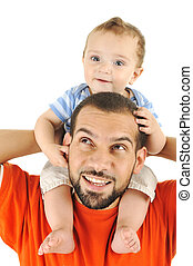 Father and baby son, playing together, isolated, piggyback