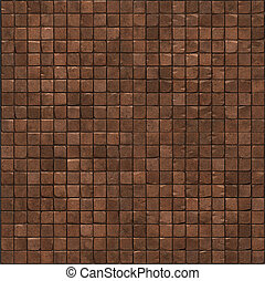 large 3d render of a red brown smooth stone mosaic wall floor
