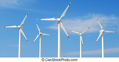 windmill - Five wind turbines against clear sky - rendering
