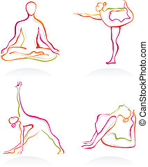 Yoga postures - Asanas - Yoga postures outnlines