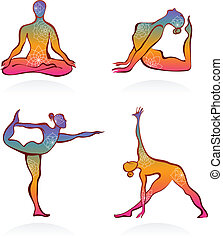 Colorful yoga postures