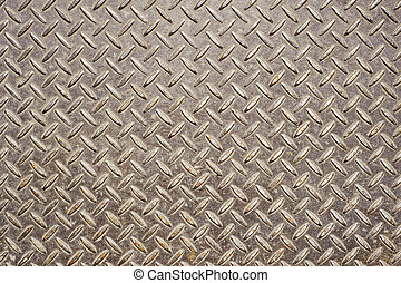 Background of old metal diamond plate in brown color