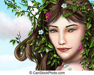 Flower girl - Beautiful young girl with vines, leaves and...
