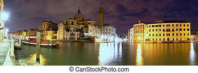 Daybreak on the Grand Canal, Venice - Panoramic view of the...
