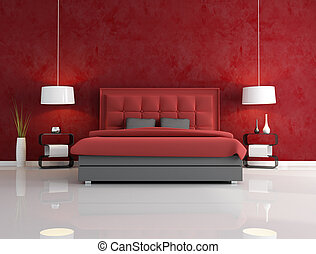 luxury red bedroom with headrest of the bed quilted -...