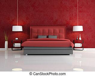 lujo, rojo, dormitorio