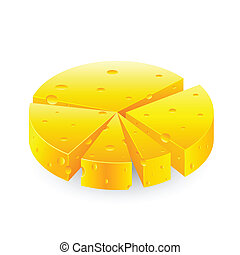 Cheesy Pie Chart - illustration of pie chart made of cheese...