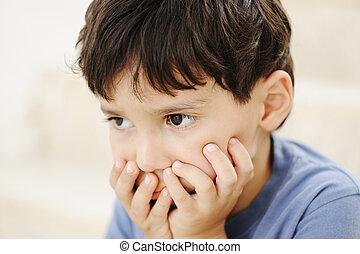 Autism, criança, olhar, Distante, afastado, sem,...