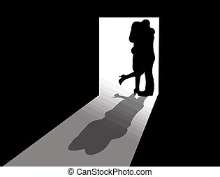 Couple kissing - Vector illustration of couple kissing in...