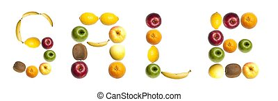 Sale word made of fruits - Sale word made of different of...