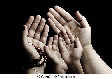 prier, enseignement, enfant, adulte, prier, ensemble