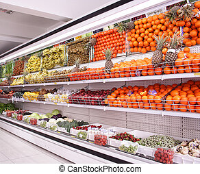 supermarket background - Fruits and vegetables in the...