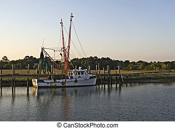 Shrimp Boat - Shrimp boat moored in the backwaters of...