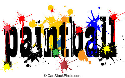 Paintball logo vector art with ink splashes