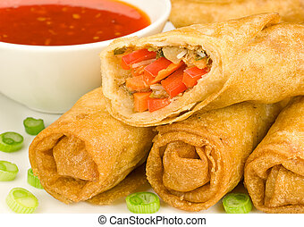 Egg Spring Rolls - Spring Rolls with Sweet Chilli Dipping...