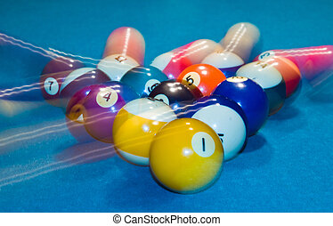pelotas, billar, movimiento, verde, tabla, piscina