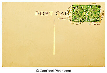 Blank Postcard - BRITAIN - 1934: Blank Antique Back of...