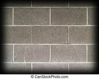 Gray and white cinder block wall background with Dark Edge...