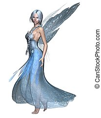 Fairy Winter Spirit 2 - Fairy spirit in an icy blue dress...